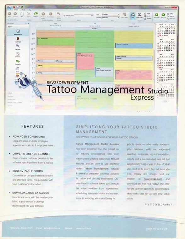 REV23 first flyer for Tattoo Management Studio software 2010