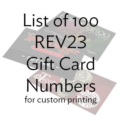 REV23 Gift Card Numbers (Lot of 100)